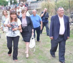 In primo piano durante una visita al Parco archeologico  (da sinistra)  Maria Costanza Lentini, l'ex assessore ai beni culturali Maria Rita Sgarlata e il sindaco di Giardini Naxos Pancrazio Lo Turco