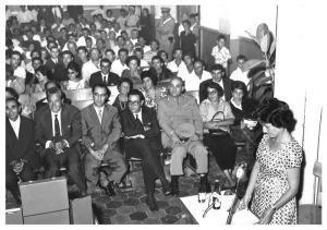 Paola Pelagatti in una conferenza negli anni 60' del 900