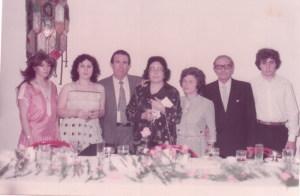 Festa di matrimonio, 23-05-1983, con: la moglie Tanina, la sorella Nella, il cognato Totò       Signorino, i nipoti Lina, Elvira e Nino.