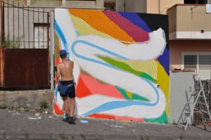 Il Murales di Momo in via di allestimento