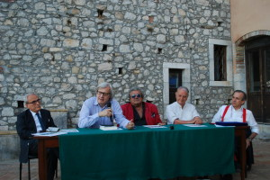 Da sin. Franco Merlo, Vittorio Sgarbi, Dino Papale, Tony Zermo e Paolo Valentino