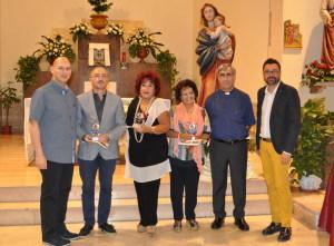 Nella foto: da sinistra Massimo Manganaro, i Giurati Salvatore Puglia, Maria Lidia Simone e Teresa Vadalà Fierro, Padre Tonino Tricomi e Gioacchino Aveni.