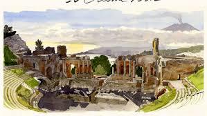 Un dipinto del Teatro Greco di Taormina