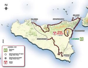 La Mappa con le 4 tappe del Giro di Sicilia