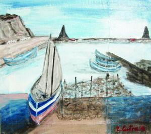 Uno dei quadri della mostra: il porto di Aci Trezza