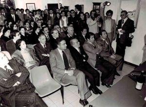 Inaugurazione dell'ACAM. In prima fila il compianto Presidente della Regione Piersanti Mattarella in piedi tra il pubblico Padre Cingari intervenuto alla cerimonia inaugurale.