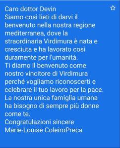 La nota di merito della Presidente di Malta Louise Coleiro Preca che ha partecipato a distanza e che è stata letta per la premiata