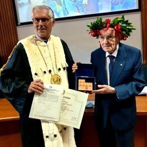 Giuseppe Paternò con il Rettore dell'Università