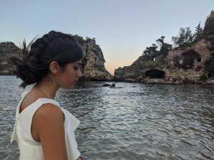 Una delle modelle all'Isola Bella