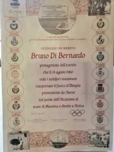L'attestato di Bruno Di Bernardo