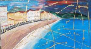 Uno dei suoi recenti lavoriraffigurante la baia di Giardini Naxos