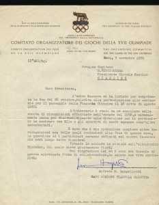 La lettera del Comitato Olimpico