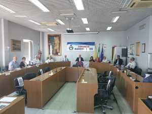 La sala consiliare con i candidati