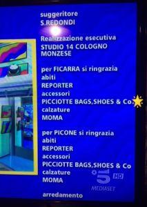 """Il nome della collezione """"Le Picciotte"""" nei titoli di coda di Striscia la Notizia"""