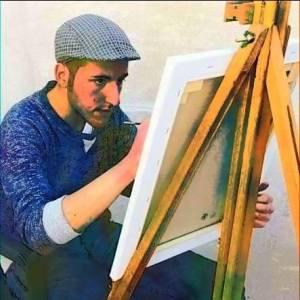 L'artista Damiano Marra che ha realizzato la prima di copertina del libro