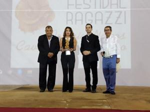 Edizione Festival 2020 da sin. l'ex Sindaco Pancrazio Lo Turco, Antonella Ferrara patron di Taobuk, Don Gianluca Monti e il prof. Ignazio Vasta